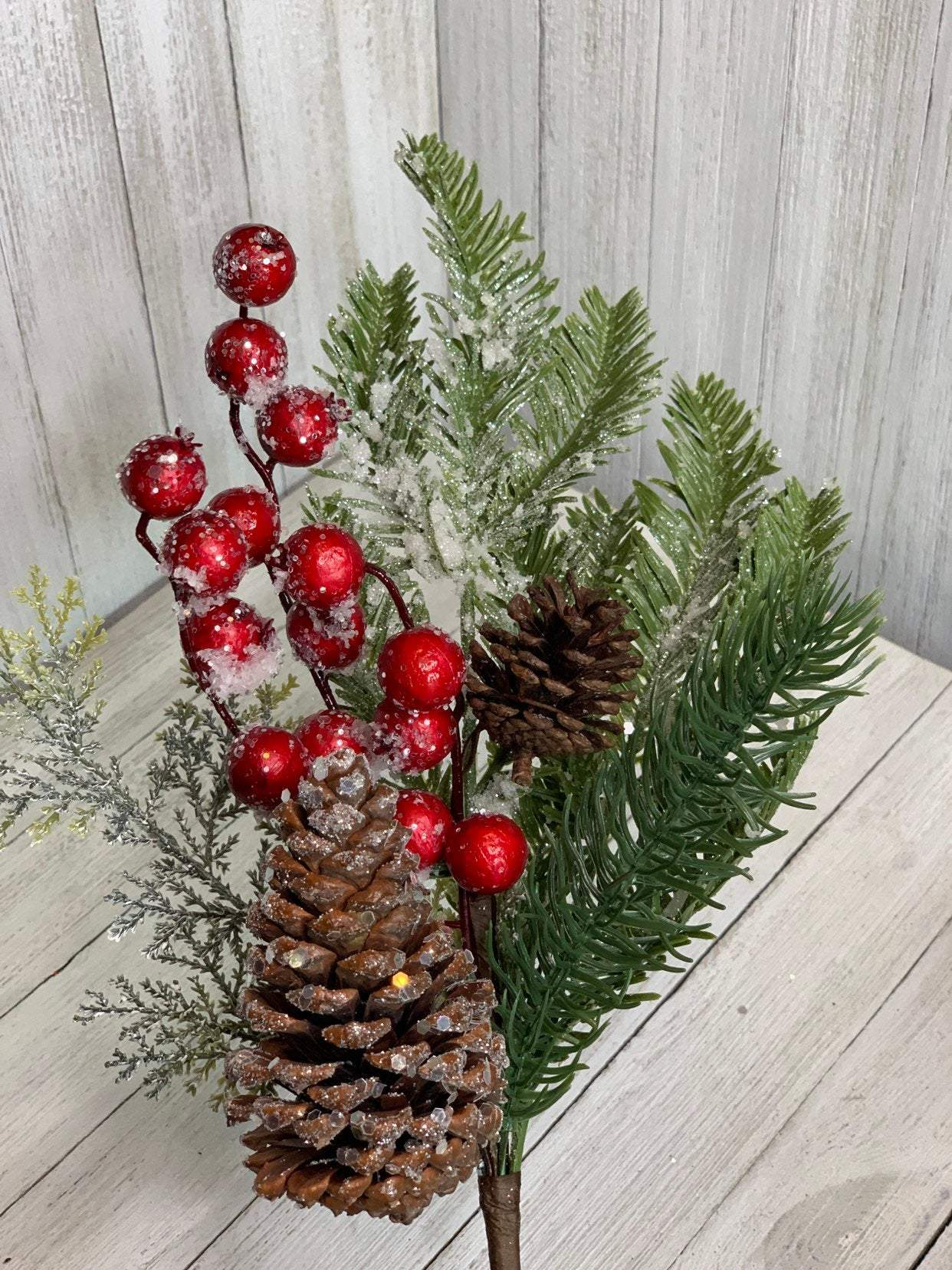 Artificial Pine, pine with berries, artifical berry, artifical greenery, winter greenery greenery for Christmas, fake pine