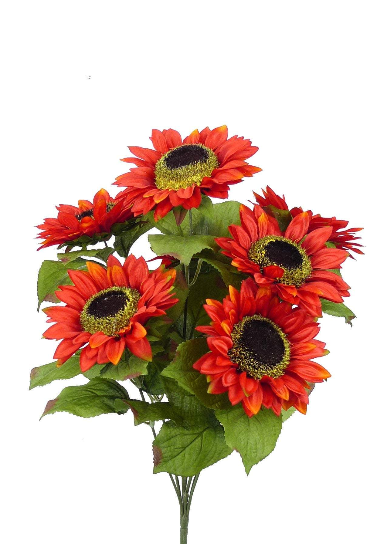 Artificial Sunflower bush, sun flower bush, artifical flowers, deep orange sunflowers, all year flowers, silk sun flowers, orange colored