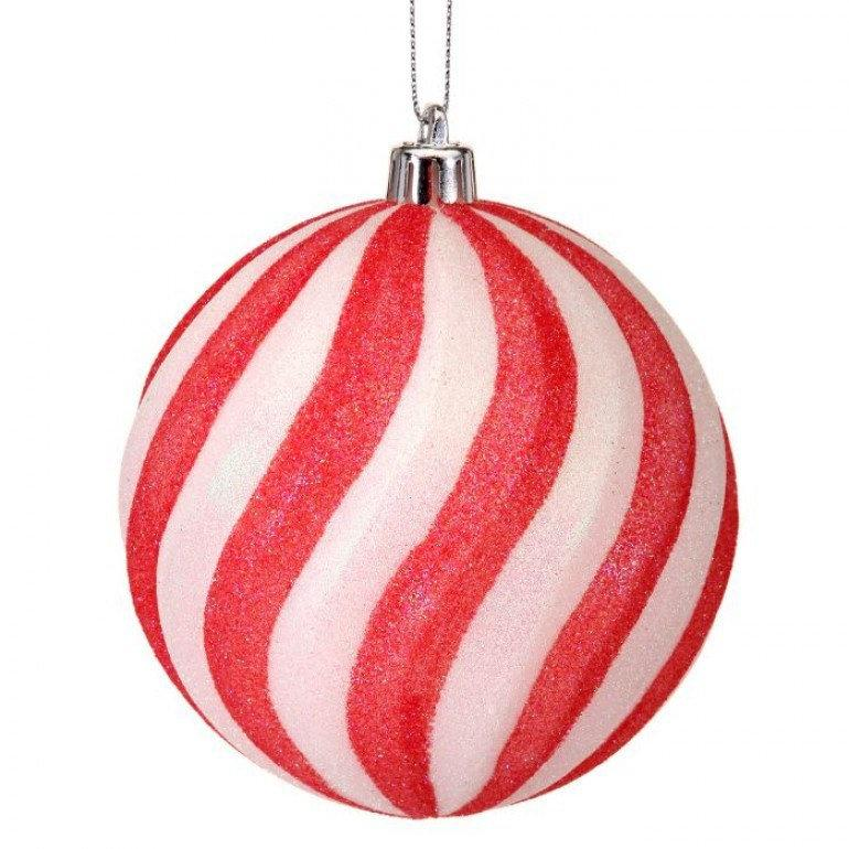 150 MM Set of 2 Pink red candy striped ornaments, 5.9