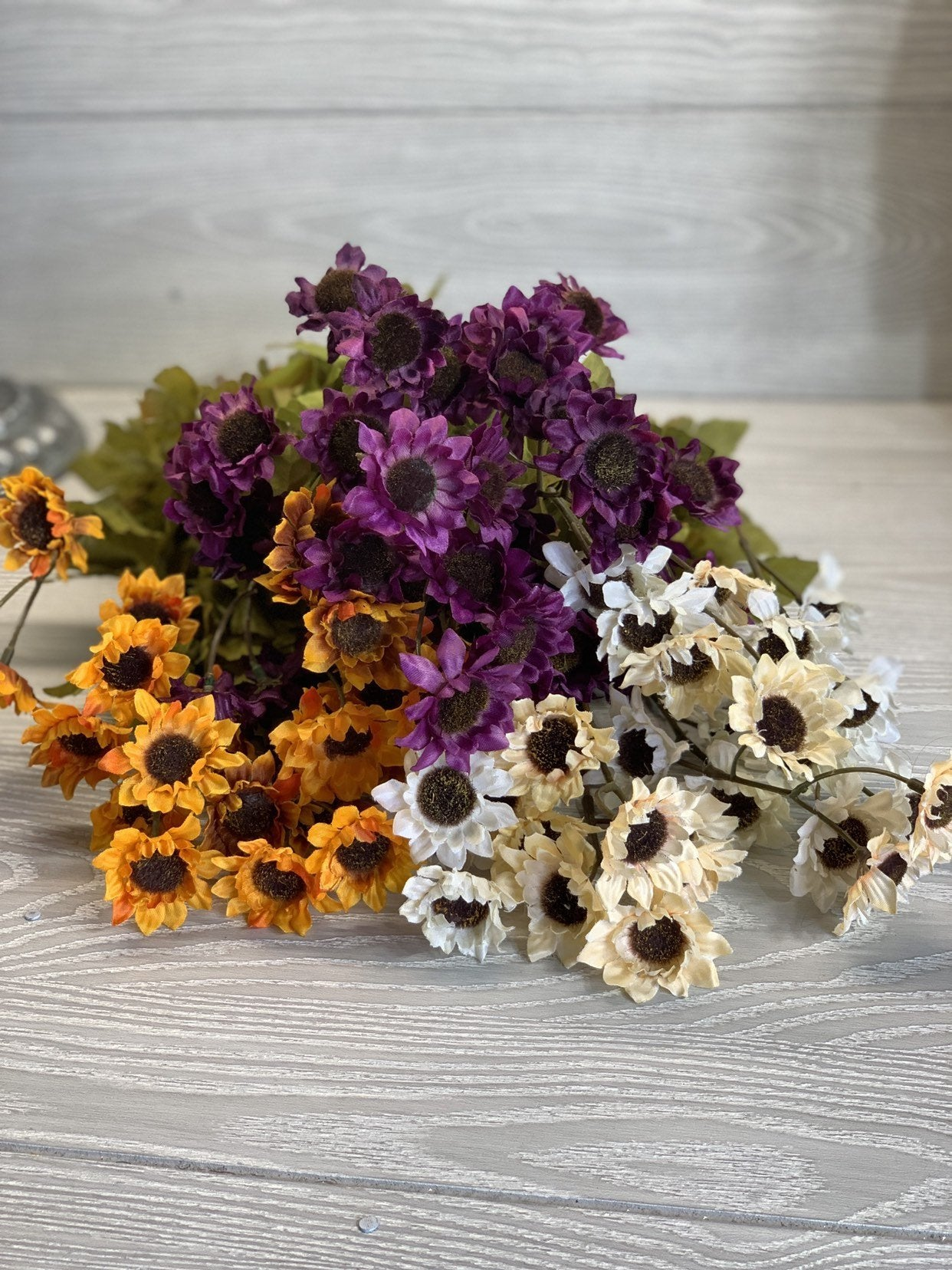Mini sunflower bush, purple or orange yellow silk sunflowers, silk flowers, faux artifical flowers, wreath supplies, small floral bush