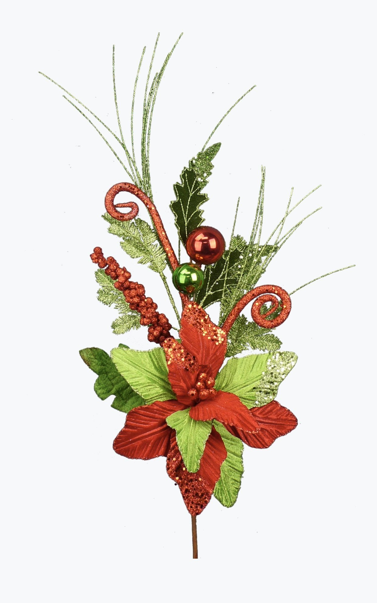 Red and green Christmas poinsettias, fun red glittery poinsettia flowers, artificial flower pics , artificial poinsettias with balls,