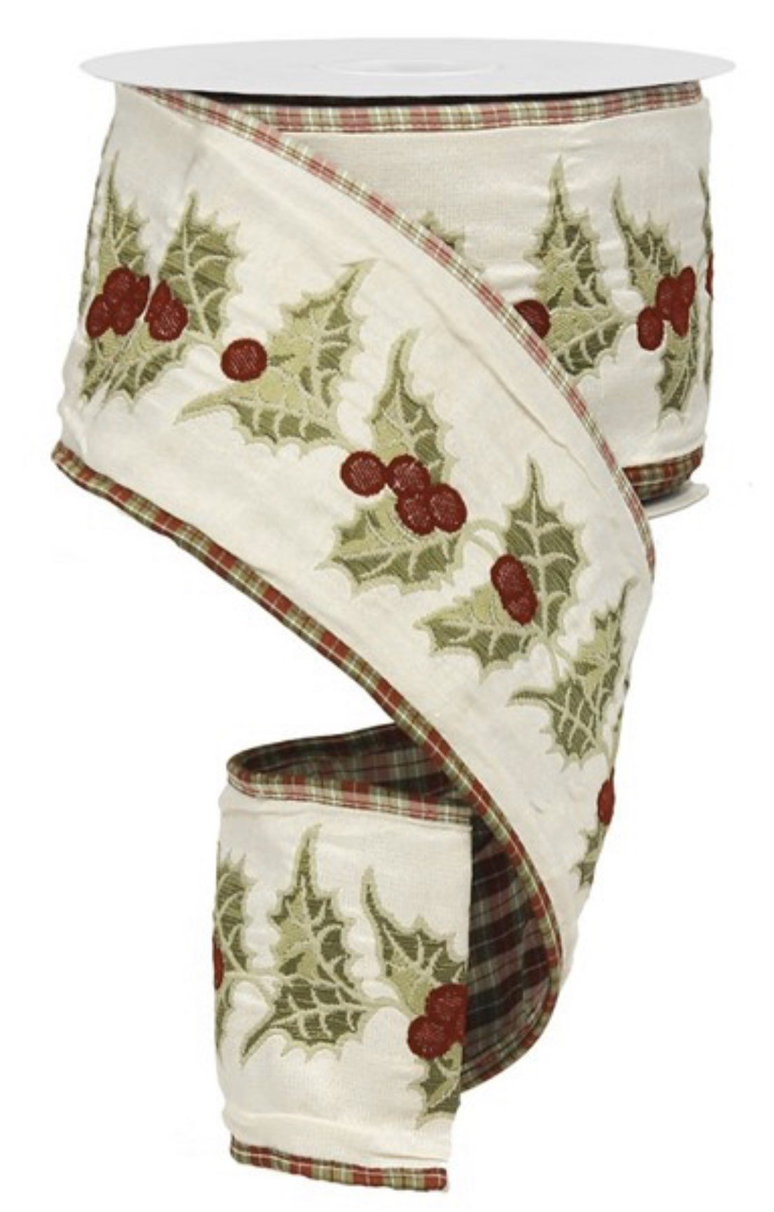 "holly ribbon, green and cranberry, holiday plaid - 4"" 10 yards, burgundy green ribbon, plaid wired ribbons, christmas ribbon for trees"