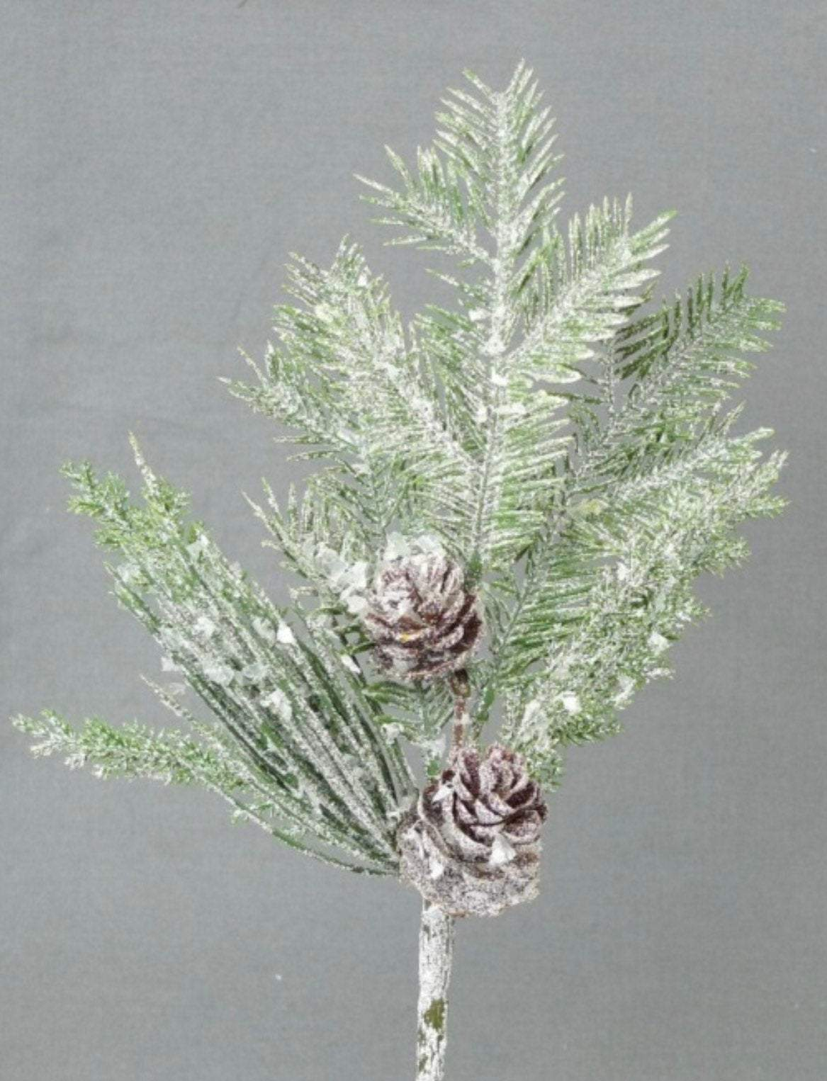 Artificial iced Pine, christmas mixed pine, pine pick with mini pinecones, snowy Greenery stems, winter greenery