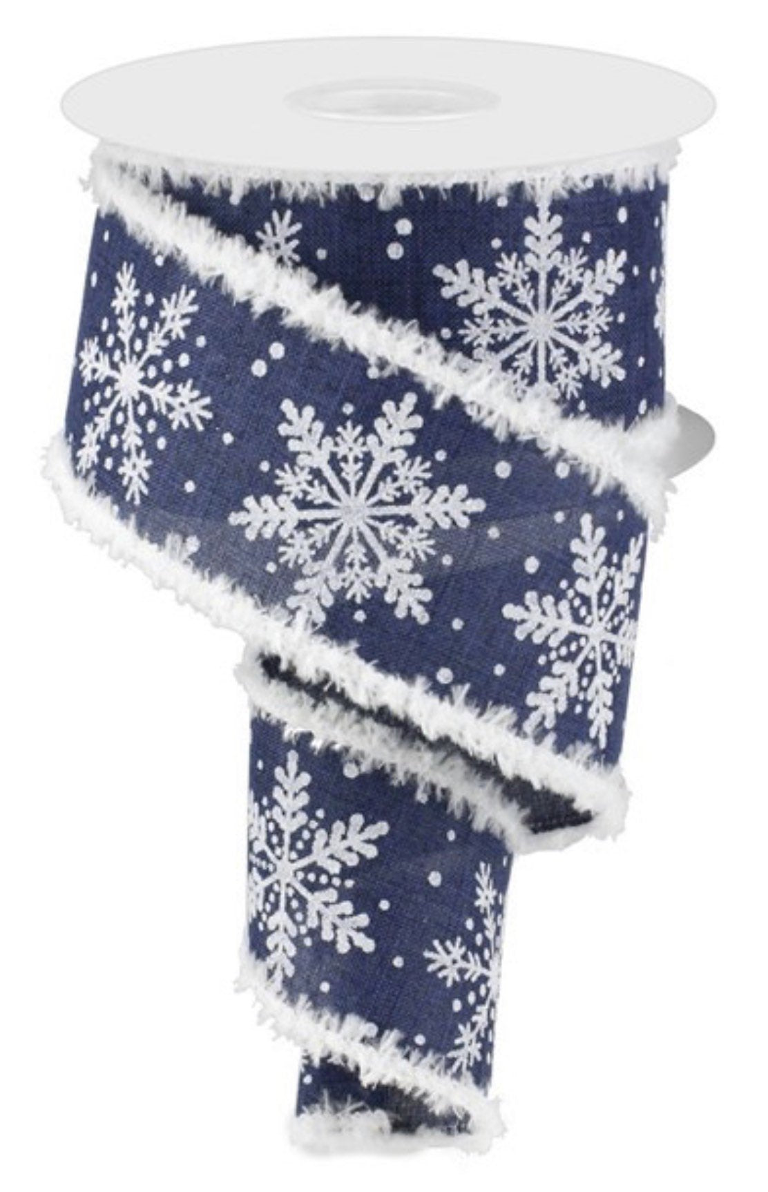 "2.5"" 10 yards, navy and white glittered snowflakes ribbon, navy ribbon, white snowing ribbon,  wired ribbon with snow flakes and snowdrift"