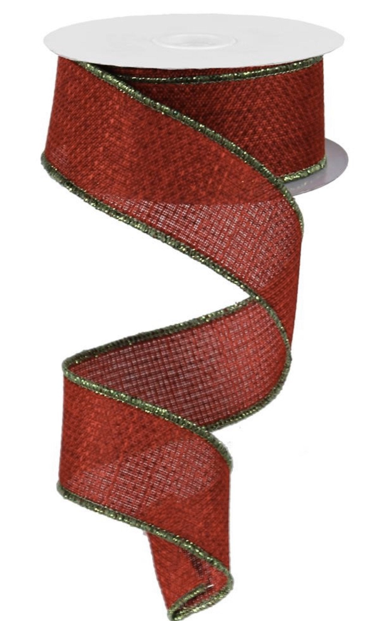 "10 YARDS solid Burgundy with Green shimmer edge ribbon 1.5"" wired solid ribbon, ribbon for wreaths, wreath supplies, Christmas Ribbons,"