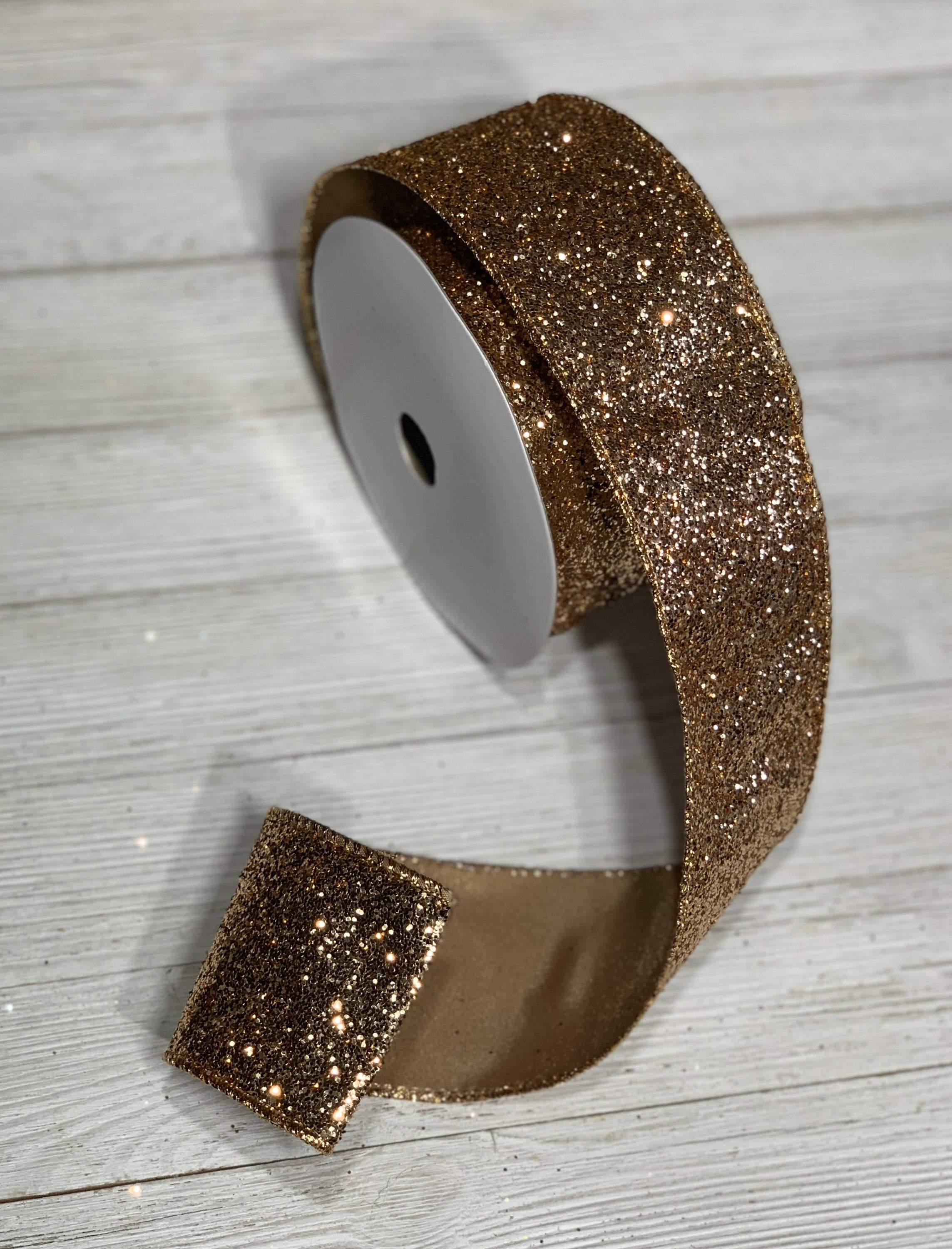 "2.5"" ribbon, rose gold glitter wired christmas ribbon, gold christmas ribbons, wreath supplies, 10 yards, designer ribbons"