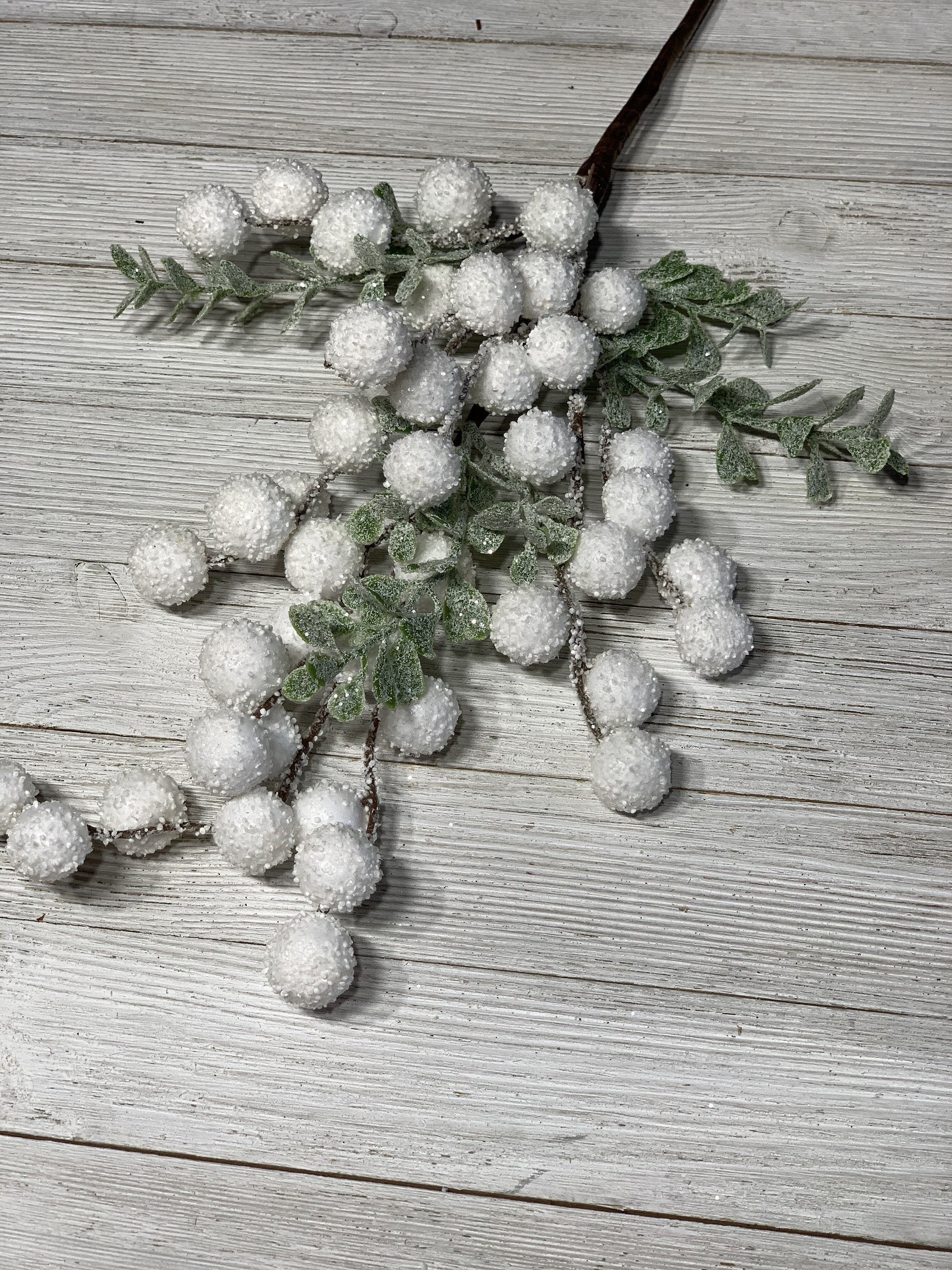 White berries, white snowballs,  Berry stems, white berry spray, artificial berries with eucalyptus, artificial greenery,