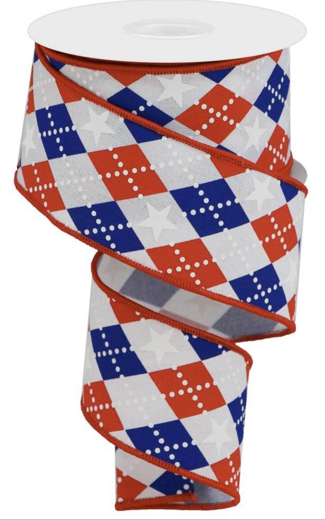 "2.5"" 10 yards, red, white and blue argyle ribbon, ribbon with stars, diamond ribbon, patriotic wired ribbon,  ribbons for Independence Day"