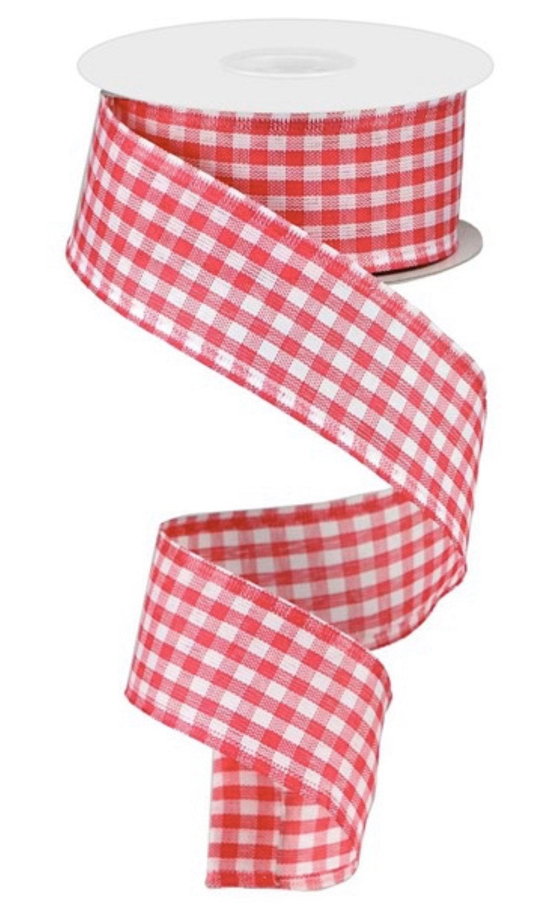 "Pink Gingham ribbon, 10 yards wired ribbon, hot pink And white gingham plaid wired ribbon, plaid ribbon, 1.5"" wired ribbon, wreath supplies"