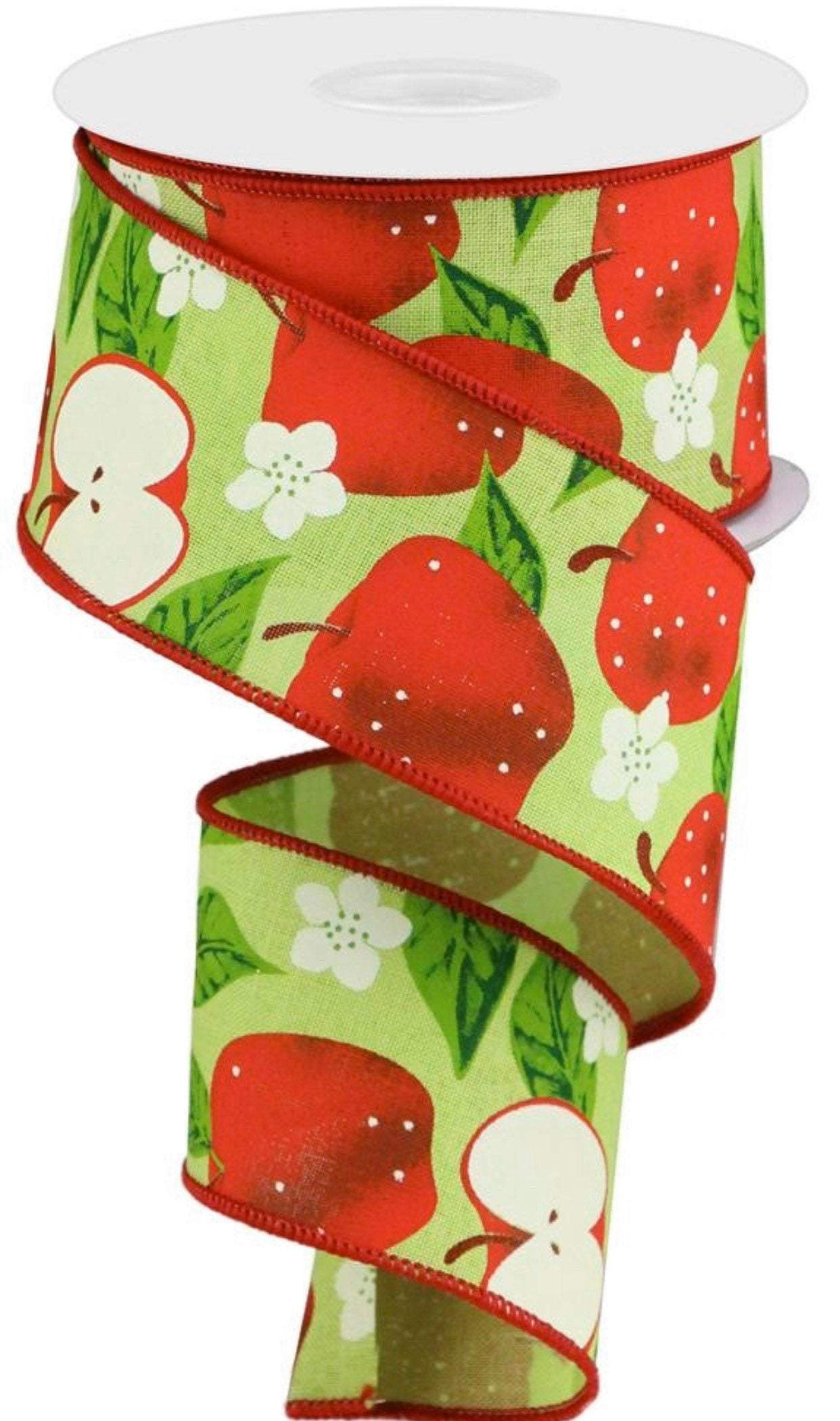 "apple ribbon, ribbon with apples, 10 yards,  2.5"" wired ribbon, summer ribbon, wired ribbon on royal, fruit ribbons for wreaths"