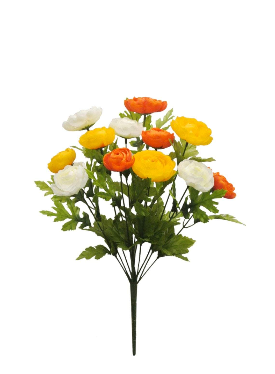 Artificial Ranunculus bush, summer silk flowers, yellow and orange flower bush, filler flowers, fake ranunculus, artificial flowers,