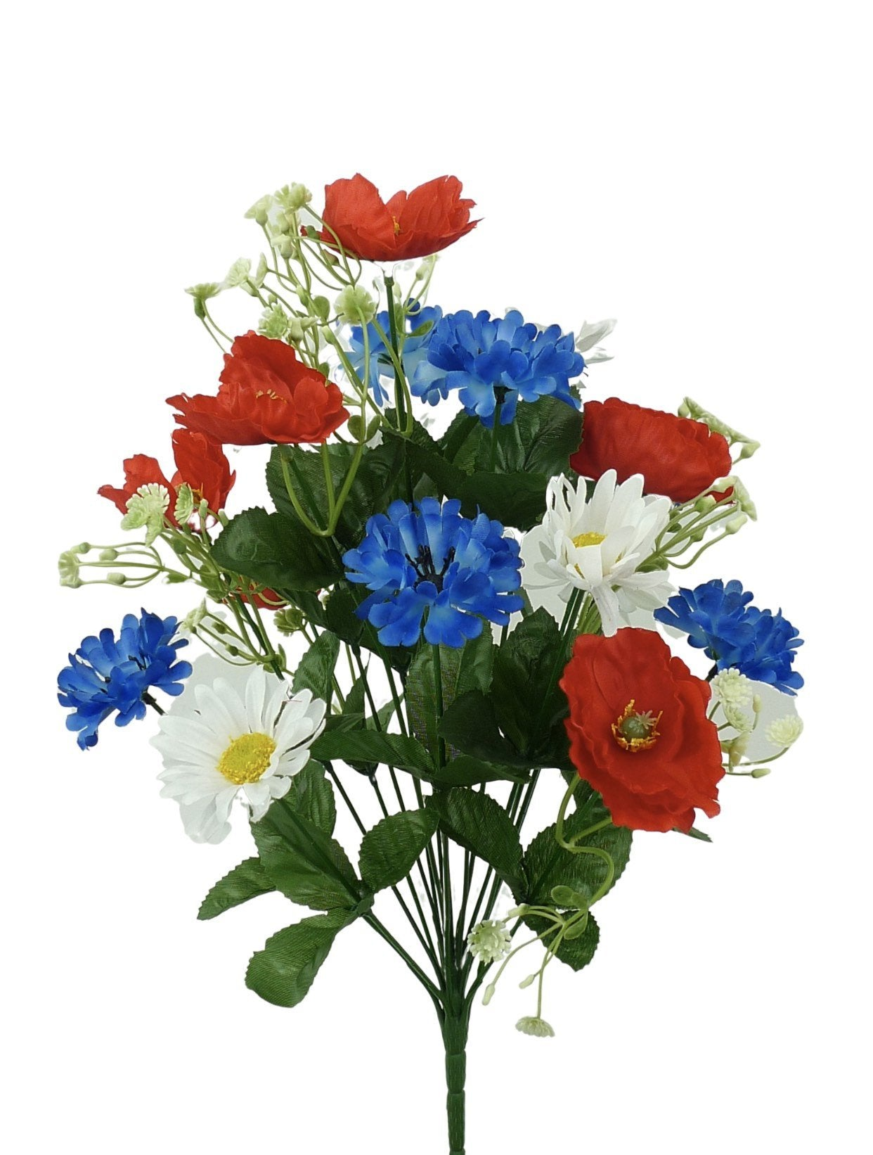Artificial poppies, mixed patriotic flowers, red white and blue - Greenery Market