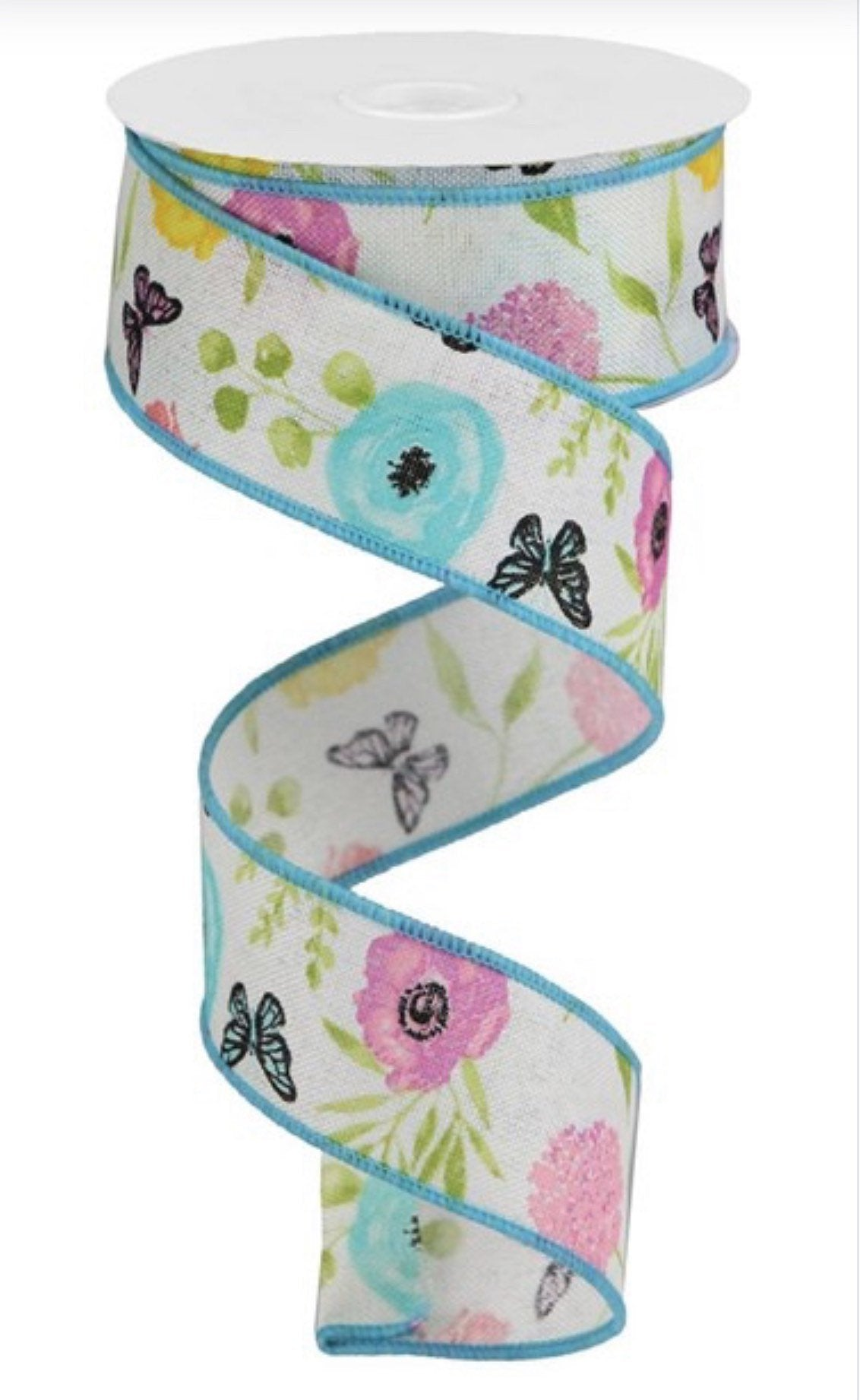 "Butterfly ribbon with flower, floral ribbon, wildflowers ribbon, 1.5"" wired, summer ribbon, ribbon for wreaths, wreath supplies,"