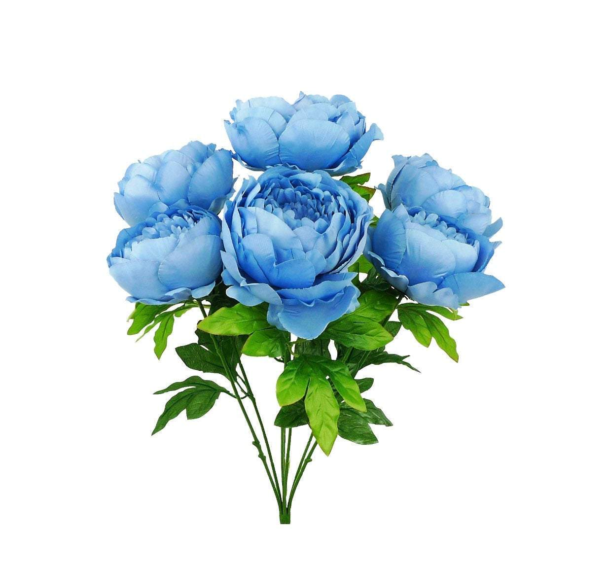 Artificial blue peonies, peony silk flower bush, spring flowers, blue peonies silk flowers, faux flower bush, patriotic flowers,