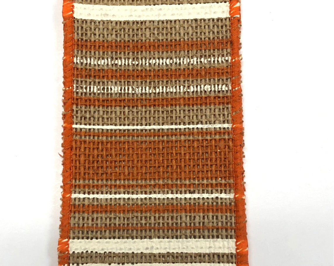Fall stripes on burlap wired ribbon - 2.5""