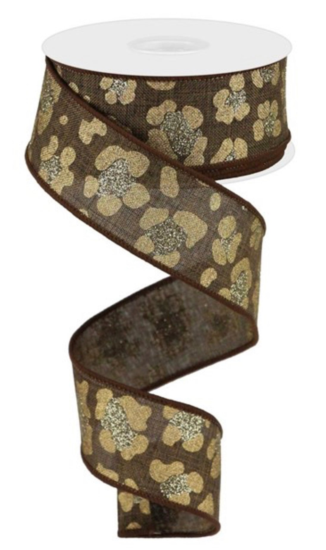 Leopard print ribbon - brown and gold 1.5""