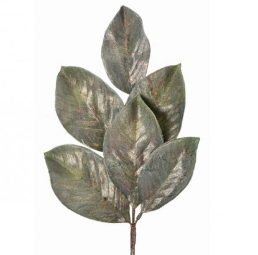 Magnolia leaves, with metallic