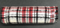 "Red, black, and white plaid poly fabric mesh 10"" red"