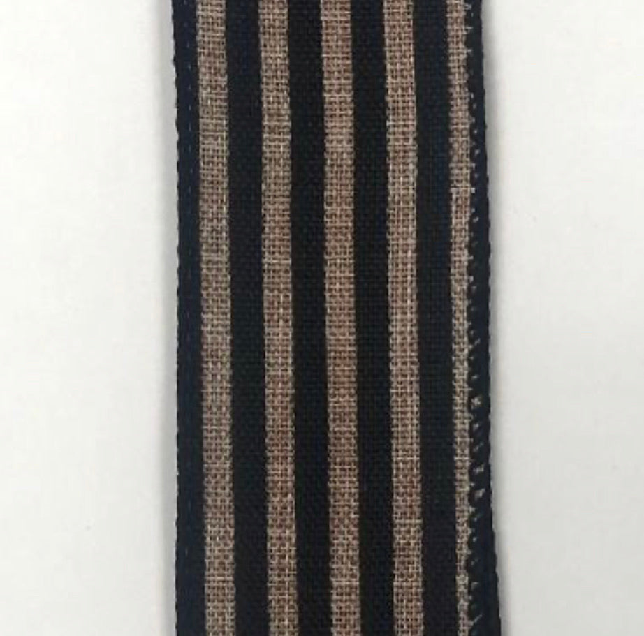Cabana stripe - natural and black 1.5""