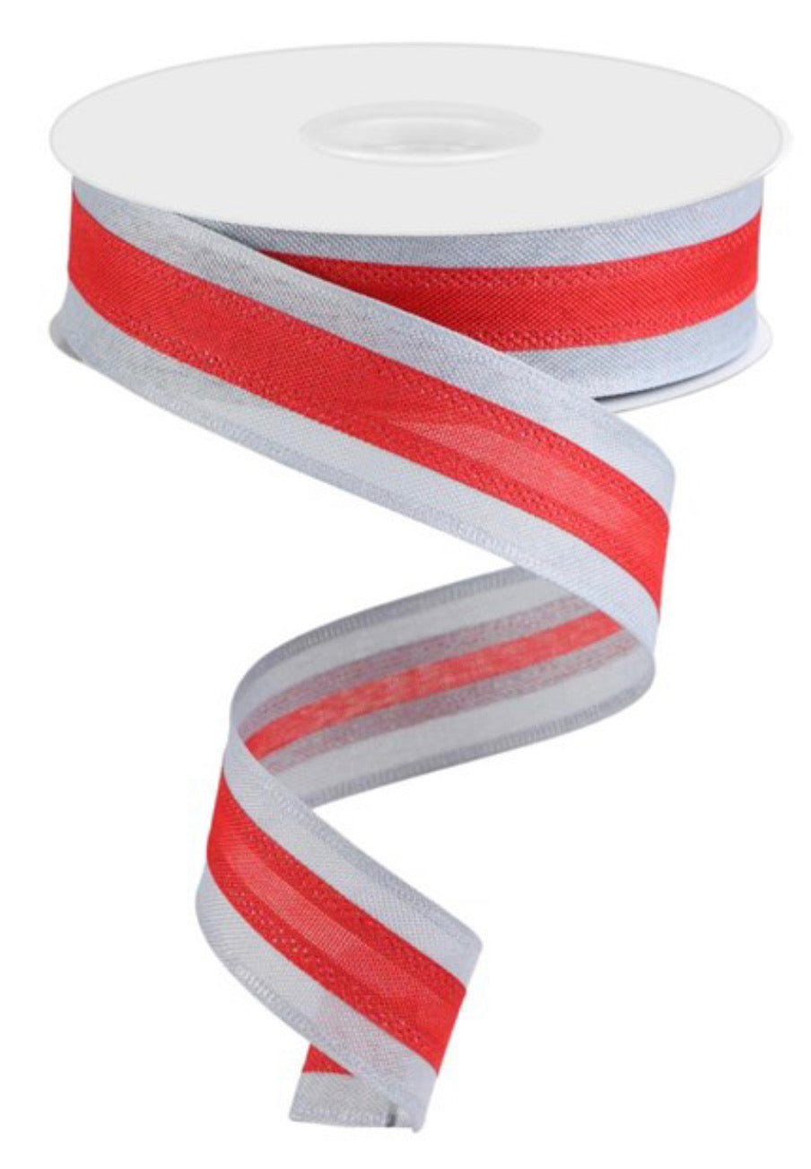Red and white stripe wired ribbon - 1.5""