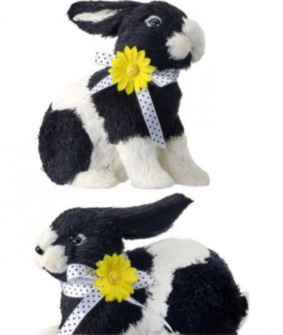 Black and white sisal bunnies with flower x 2