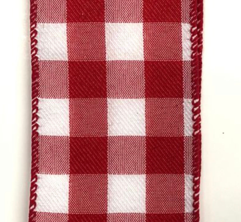 "Red and white checkered plaid 2.5"" wired ribbon"