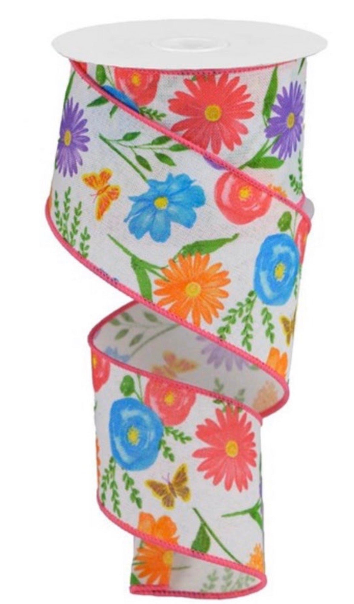 Summer Ribbon with flowers and butterflies