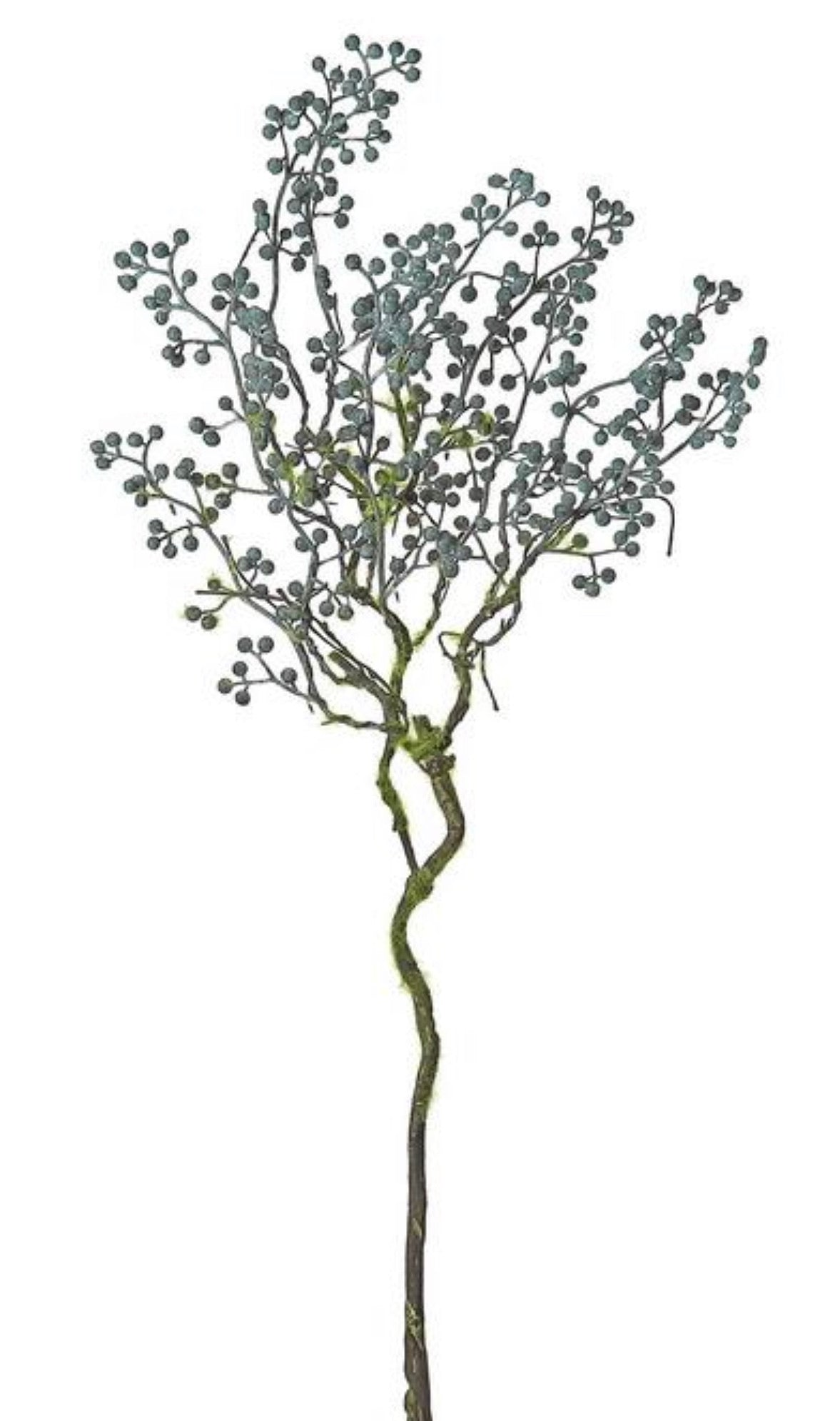 Harvest mini seed spray - dark blue with moss stem
