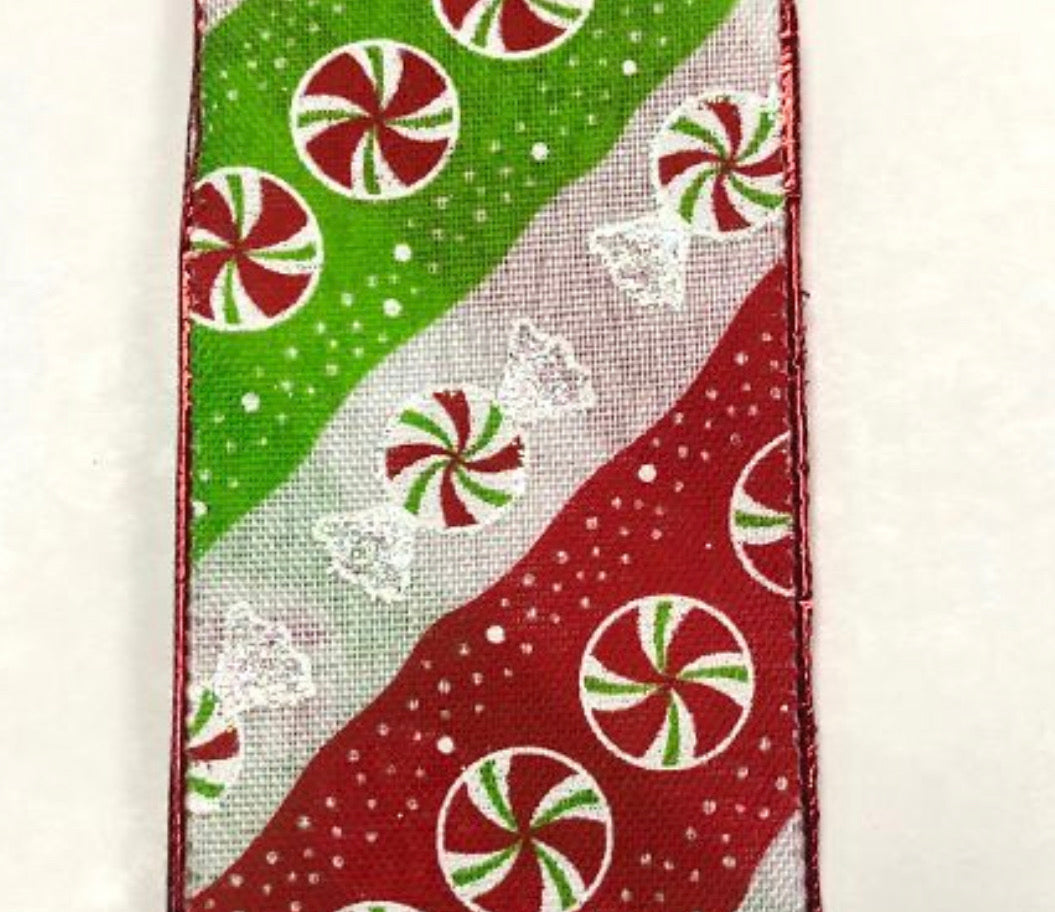 "Peppermint Lime green, emerald and red stripe 2.5"" wired ribbon"