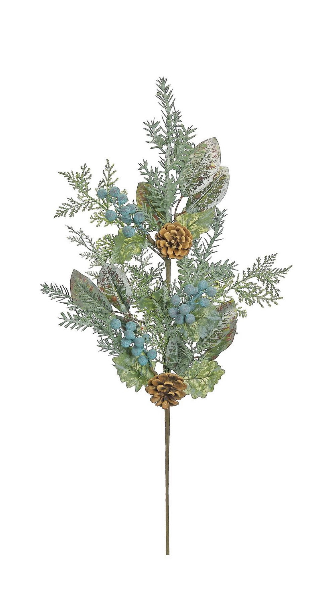 Mixed foliage spray with cones & blueberries