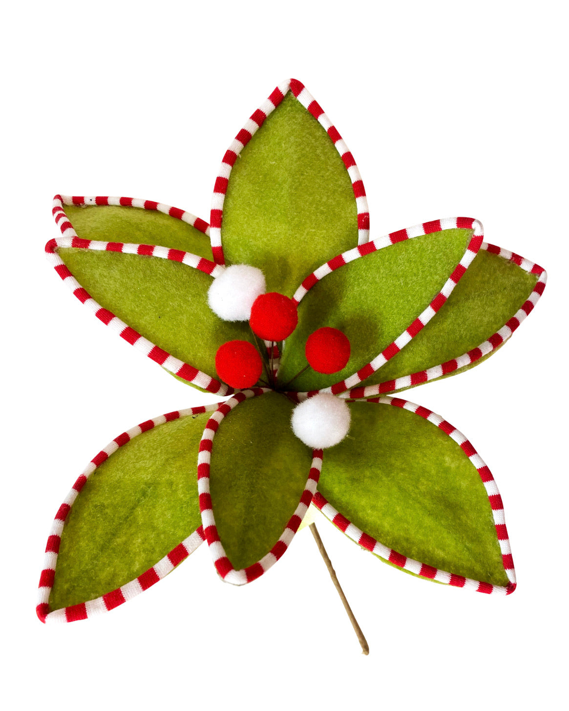 Red and green felt poinsettia