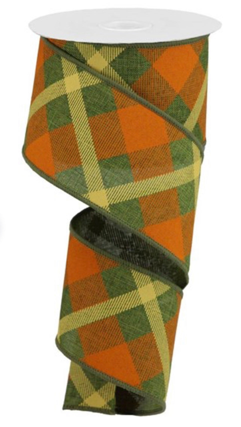 Diagonal plaid  wired ribbon -moss green/ orange 2.5""