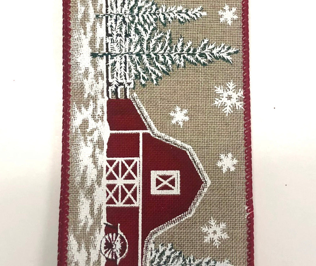 "Red and tan snowy barn 2.5"" wired ribbon"