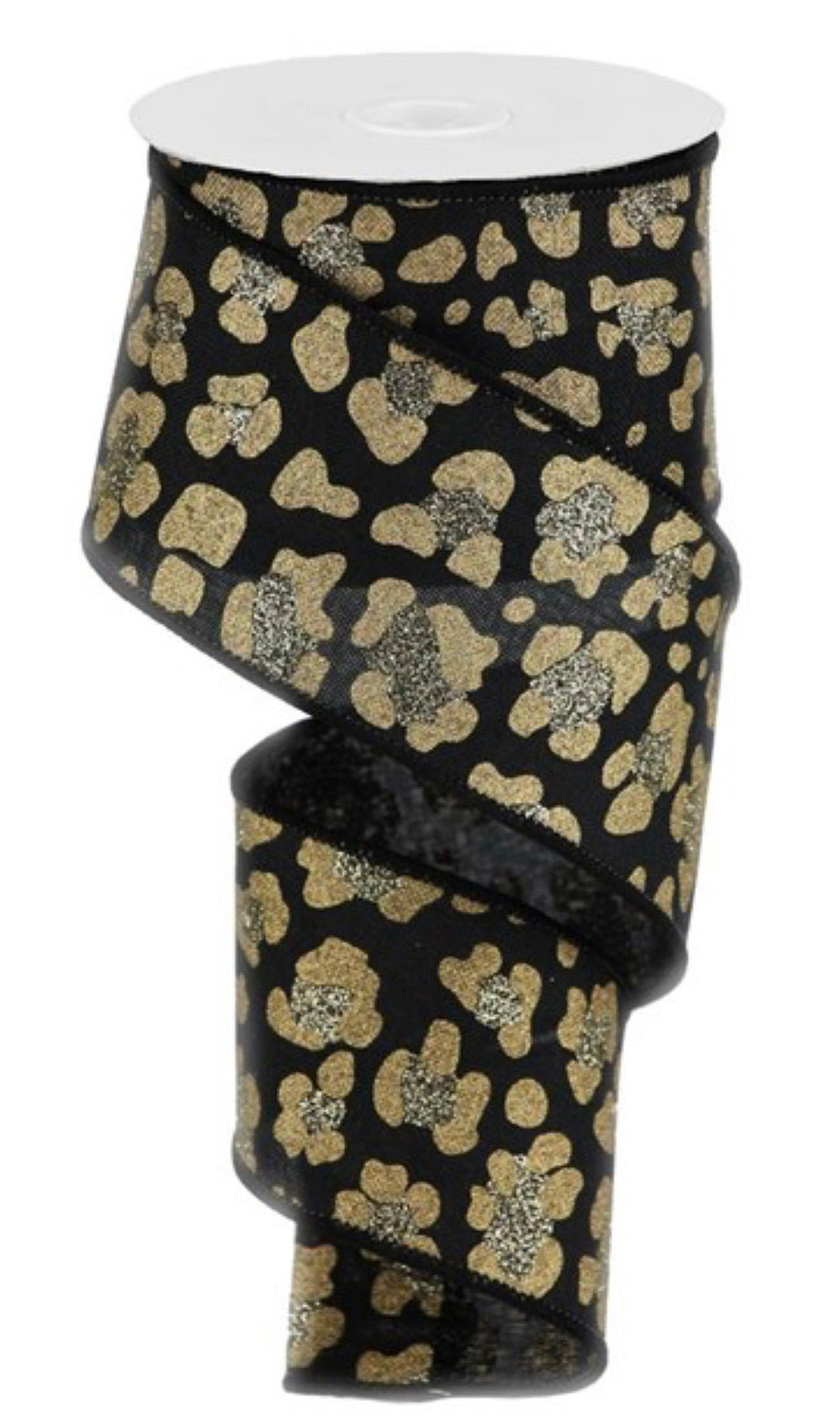 Leopard print ribbon - black and gold 2.5""