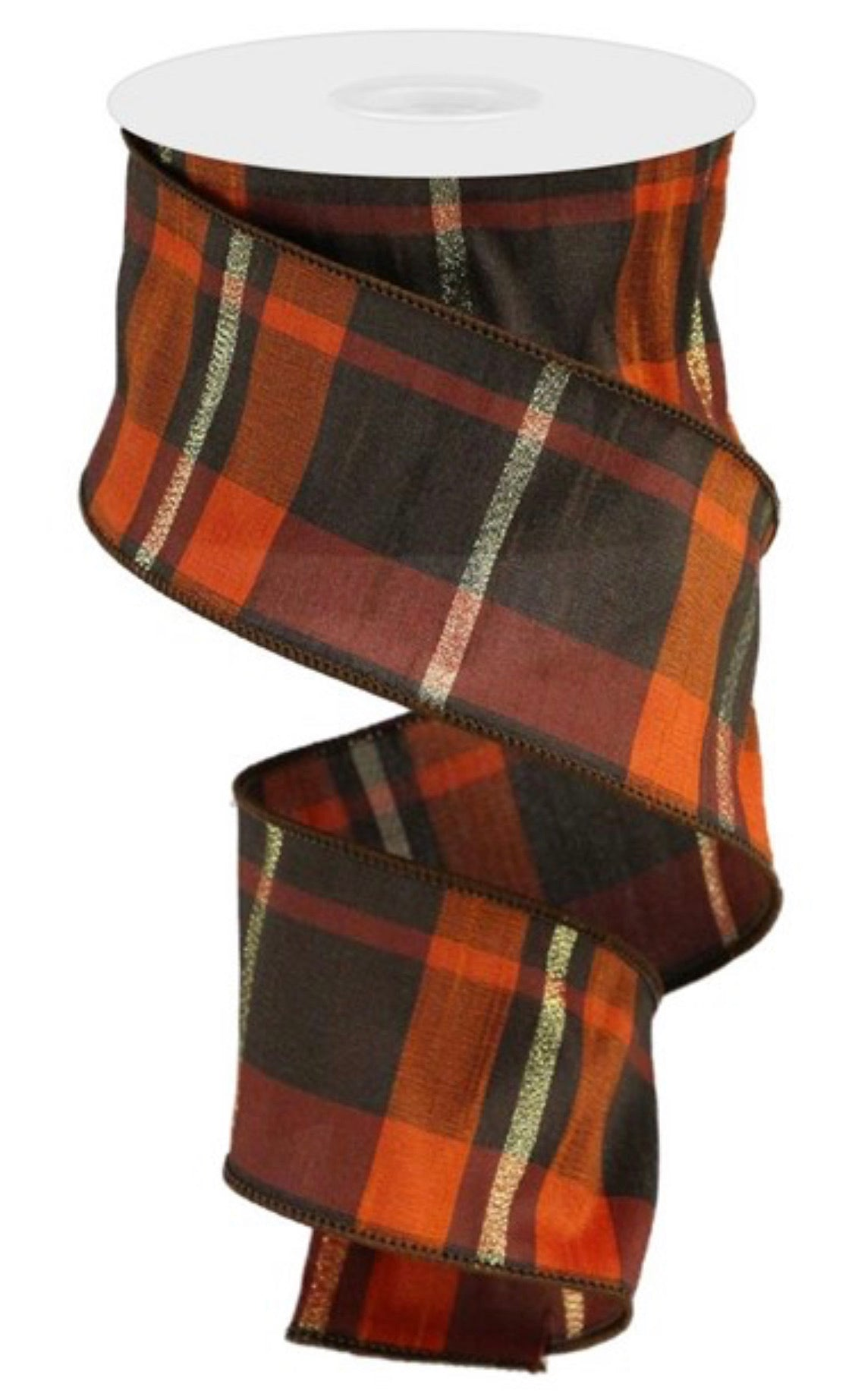 Brown and orange plaid faux dupioni 2.5""