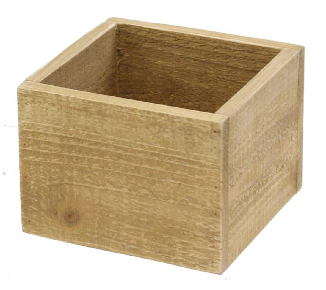 Square wooden containers - beige