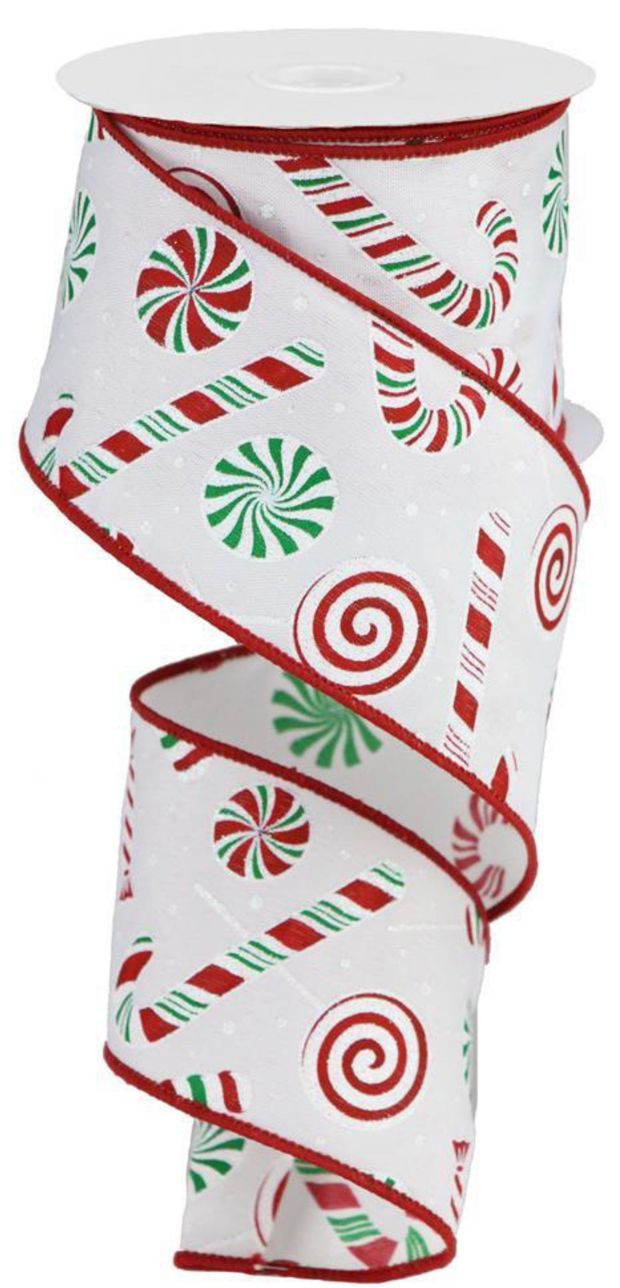 Peppermint candy cane ribbon 2.5""