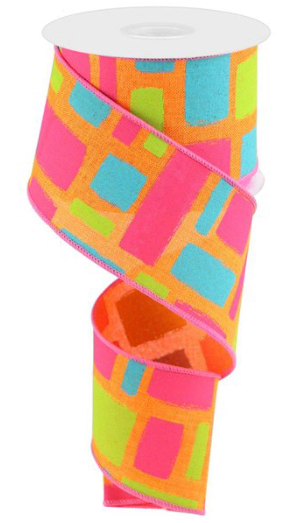 "Orange, pink, Lime Green and aqua brush strokes wired ribbon, 2.5"" - Greenery Market"