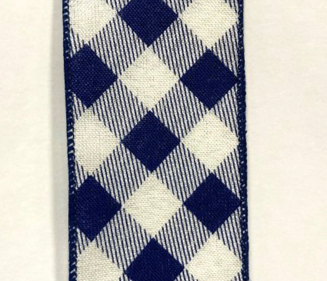 Navy Blue and ivory plaid wired ribbon 2.5""