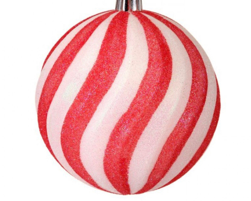 Sugared swirl candy ball ornaments - red and white - box of 4