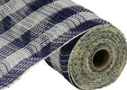 Navy and cream faux jute plaid Deco mesh, 10""