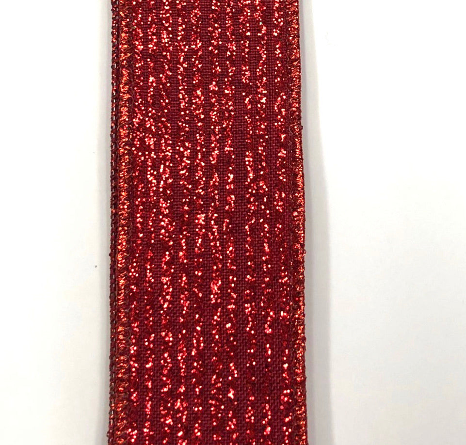 Glitter pinstripe red Wired ribbon 1.5""