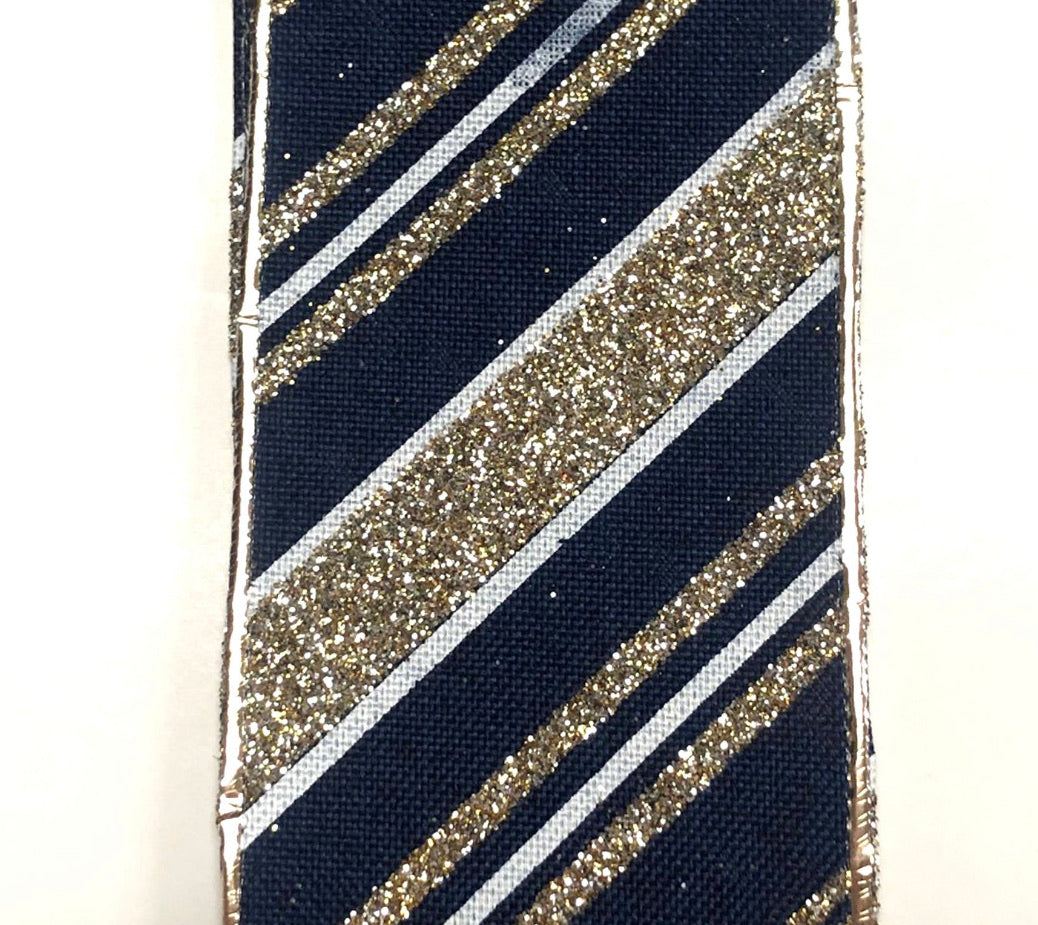 Navy with champagne stripes wired 2.5""
