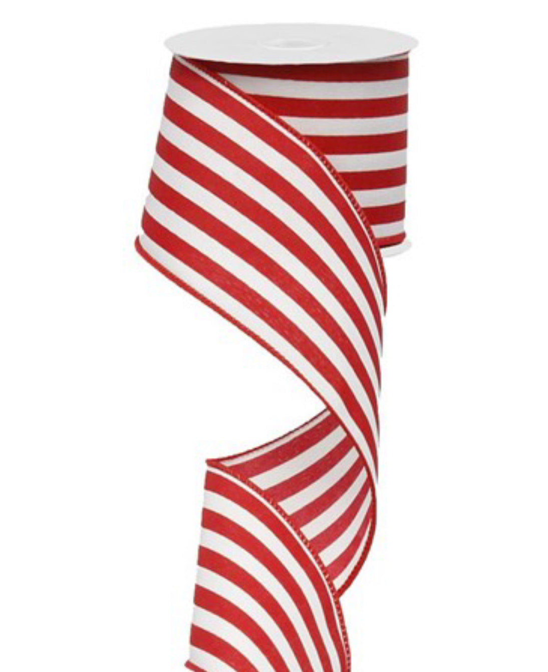 Red and white vertical stripe wired ribbon 2.5""