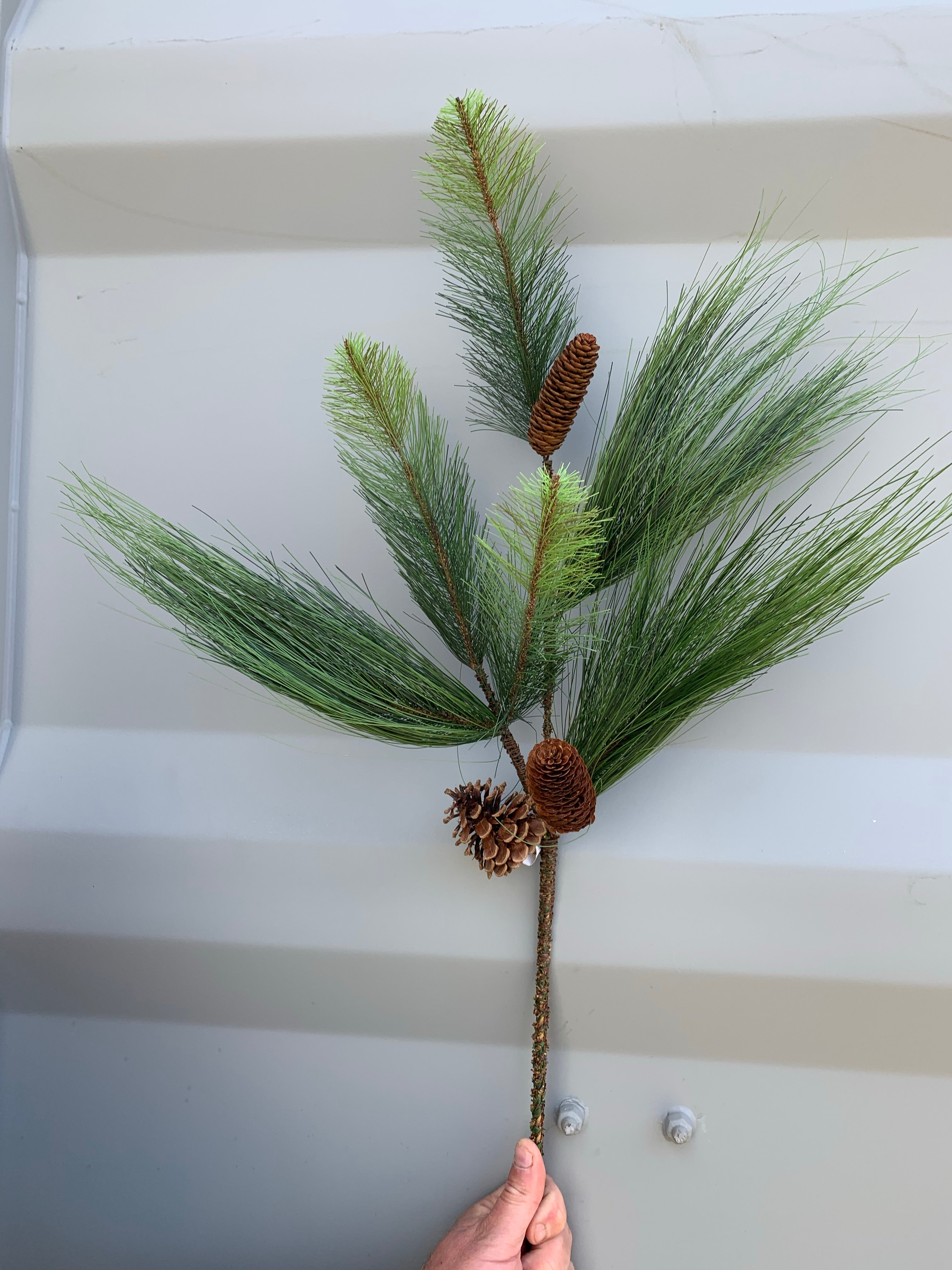 Artificial White Pine spray with pine cones