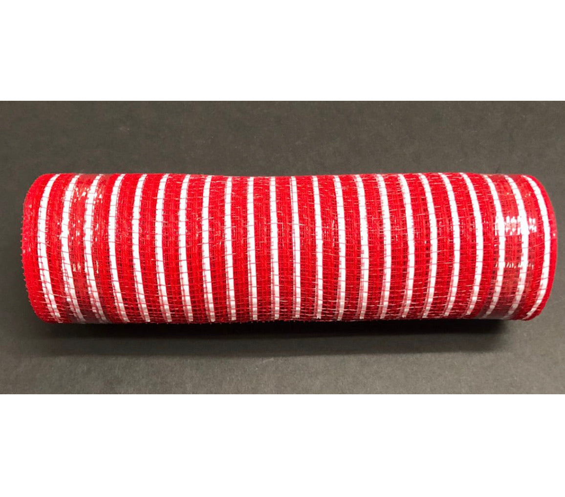 "Red and white Fabric with white stripes poly deco mesh 10"" red"