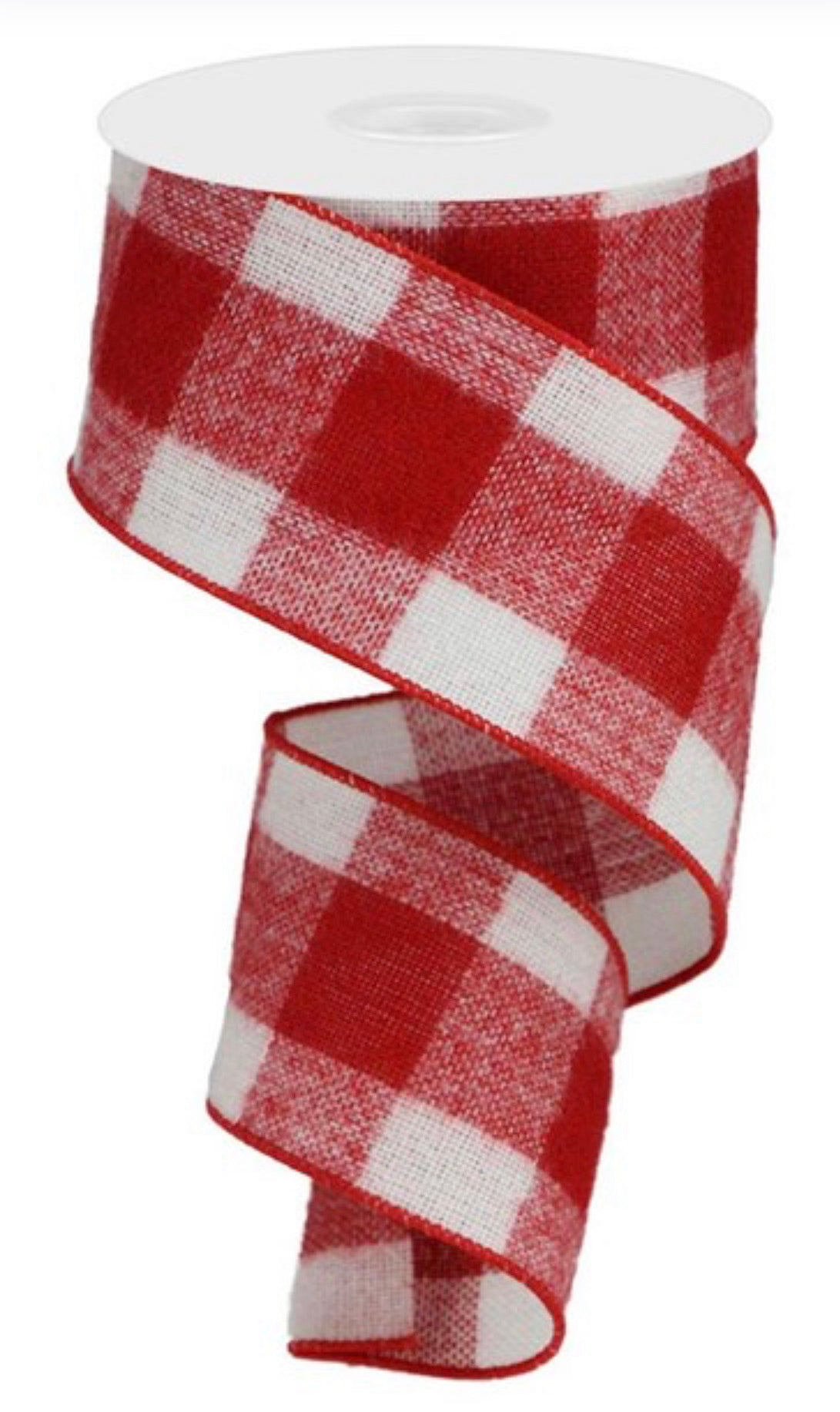 Red white check flannel plaid wired ribbon