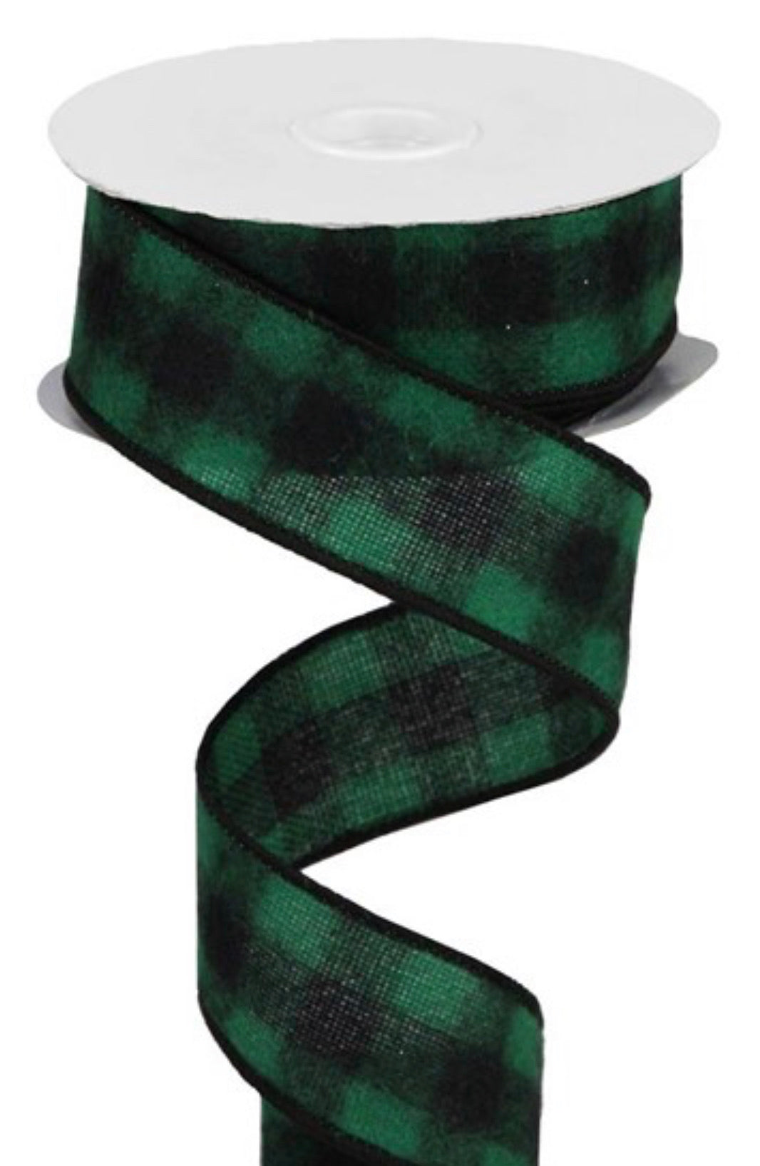Black and green fuzzy ribbon, flannel plaid, 1.5""