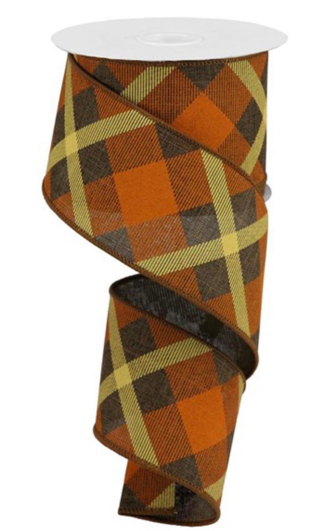 Diagonal plaid  wired ribbon -brown / orange 2.5""