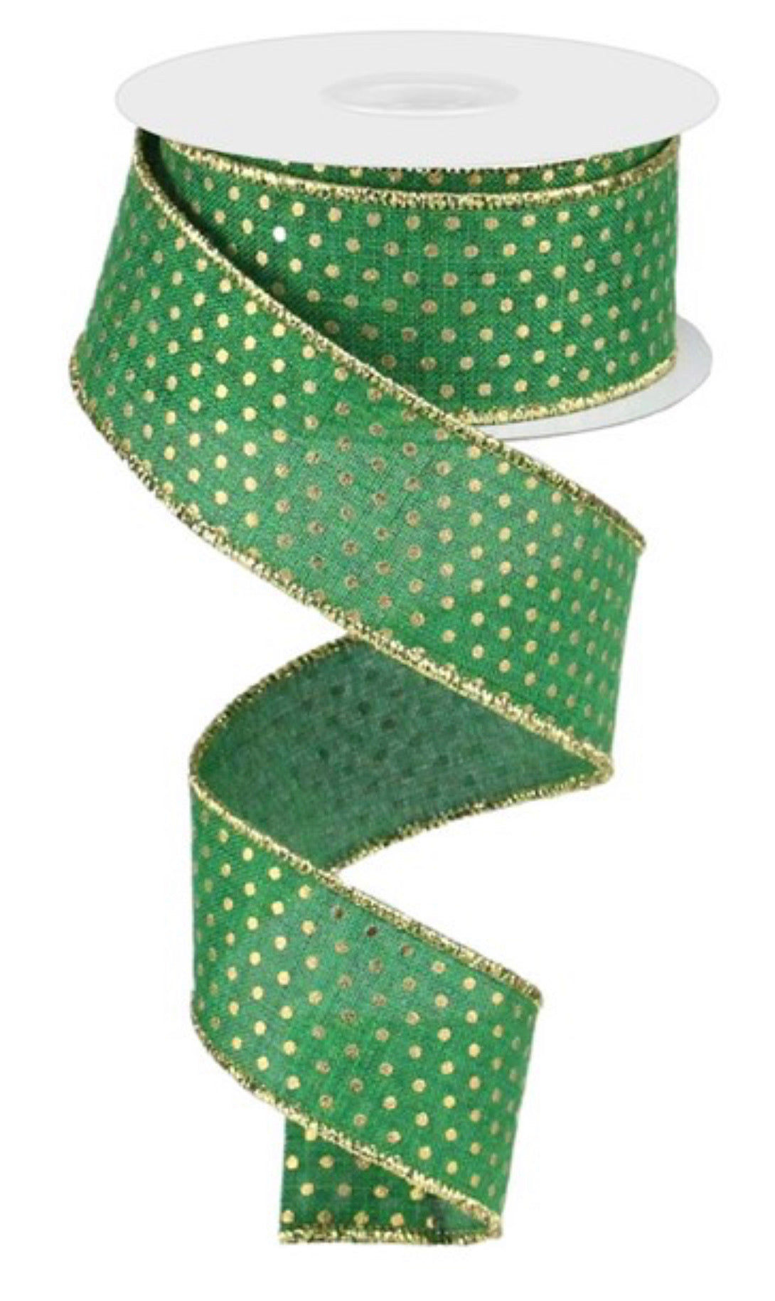 Emerald green with gold dots ribbon 1.5""